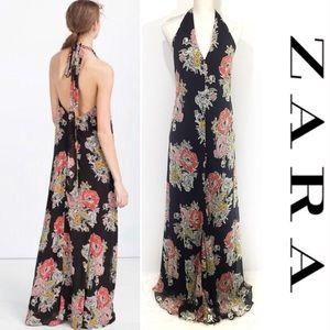 Zara Trafaluc Floral Halter Maxi Dress Black Sz M